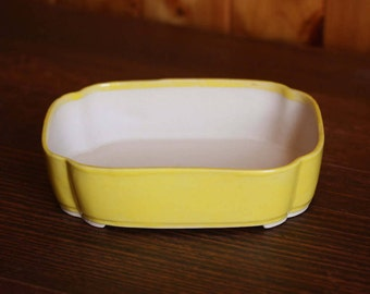 Yellow scalloped bonsai planter pot