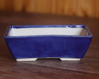 Cobalt blue rectangular bonsai pot