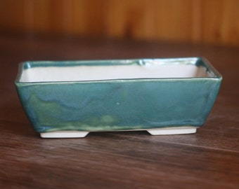 Rectangular bonsai pot in peacock green