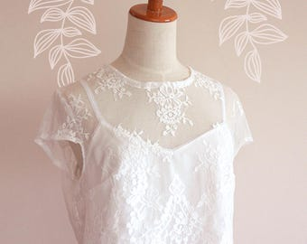 JESSA Lace Crop Top • White Lace Crop top • Wedding Crop Top • Boho Crop Top • Lace Crop Top • Wedding Dress