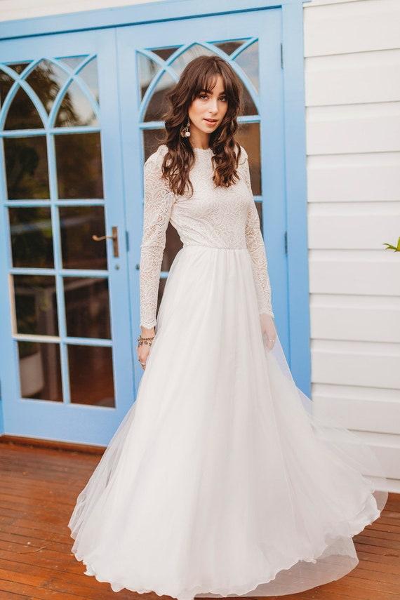 Long Sleeve Wedding Dress V Back Wedding Dress Boho Wedding Dress Winter Wedding Dress Skye Gown