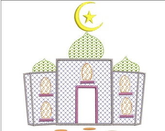 Muslim MASJID Mosque machine embroidery download 3 diff sizes ( 4x4 5x5 6x6)