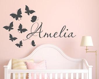 Rose cherry tree fleur violet fée nursery baby girl wall decal sticker