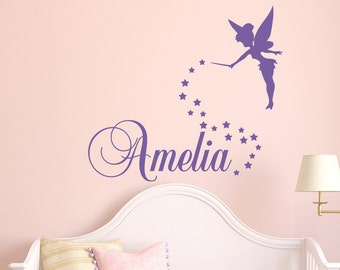 Girls Name Wall Decal- Fairy Wall Decal - Personalized Name Wall Decal Girls Bedroom Decor- Tinkerbell Wall Decals Nursery Decor Girl 146