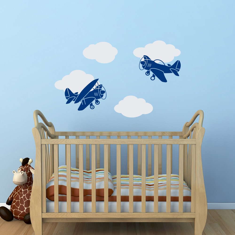 Airplane Wall Decal Boy Nursery Wall Decal Cloud Wall Decal Etsy