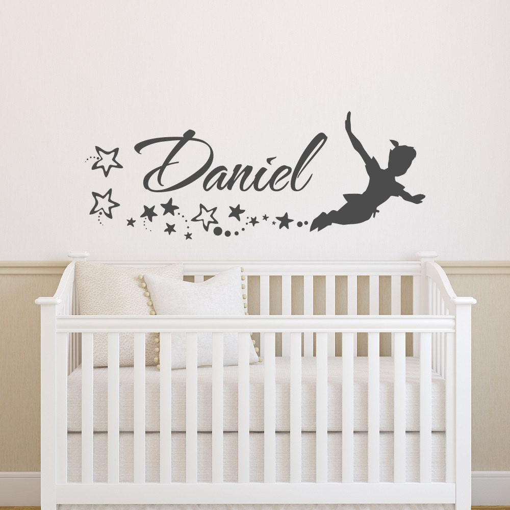 Name Wall Decal Boys Peter Pan Wall Decal For Kids Etsy