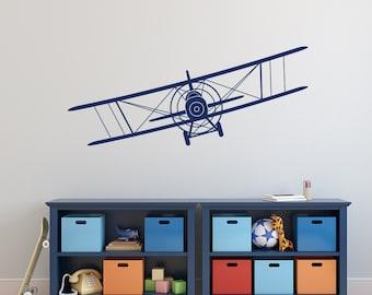 Biplane Wall Decal- Airplane Wall Decal- Boy Nursery Wall Decal- Boys Room Wall Decal- Wall Decals Nursery Boy- Wall Decal Kids Room 040