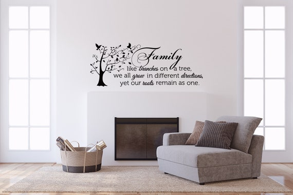 family wall decal quote family like branches on a tree vinyl