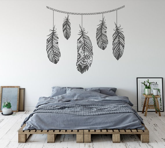 Feather Wall Decal Bohemian Bedroom Decor - Master Bedroom Wall Decor on japanese decorating, gypsy decorating, korean decorating, classic decorating, scandinavian decorating, chic decorating, victorian decorating, timeless decorating, vintage decorating, urban decorating, white decorating, earthy decorating, turkish decorating, green decorating, hippie decorating, traditional decorating, hipster decorating, france decorating, black decorating, sophisticated decorating,
