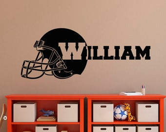 American Football Wall Decal  Boy Name Wall Decal  Football Name Decal   Football Helmet