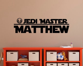 Star Wars Name Wall Decal Boy- Boys Name Wall Decals- Jedi Master Wall Decal Star Wars- Wall Decals For Boys Room Kids Bedroom Decor 017