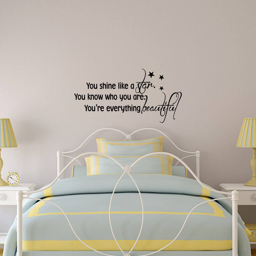 You Shine Like A Star Wall Decal Quote Star Wall Decals Etsy