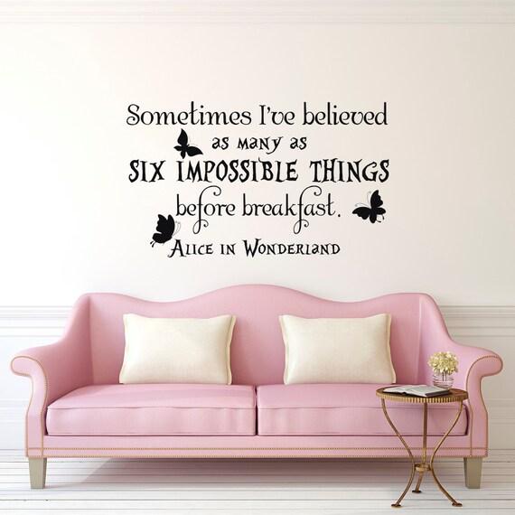 alice im wunderland zitate habe manchmal glaubte ich bis zu etsy. Black Bedroom Furniture Sets. Home Design Ideas