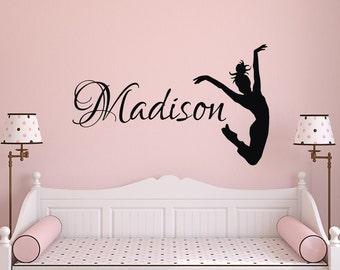 Elegant Dance Name Wall Decal  Dance Wall Decal  Girl Name Wall Decal Girls Bedroom  Decor