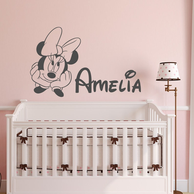 minnie mouse name wall decal girl personalized baby girl wall | etsy