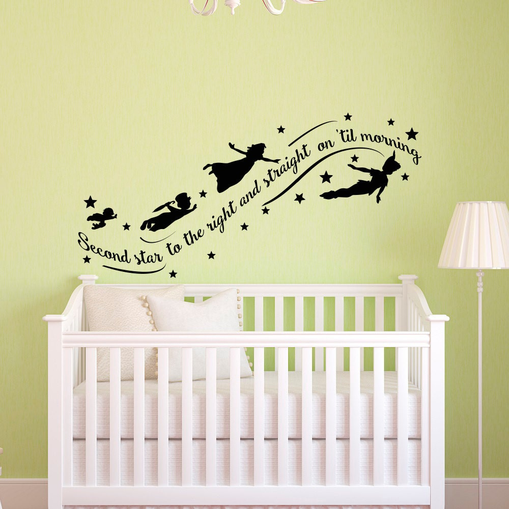 Peter Pan Wall Decal Quote Wall Decals Nursery Second Star Etsy