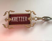 Antique Lightning Rod Arrow Kretzer Original Ruby Red Etched Frosted Glass 286