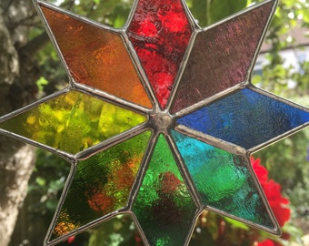 Stained Glass Suncatcher, Rainbow Star, Multi Colour Garden Art, Outdoor Decoration, Hanging Wall Décor Panel, Birthday Gifts, For Christmas