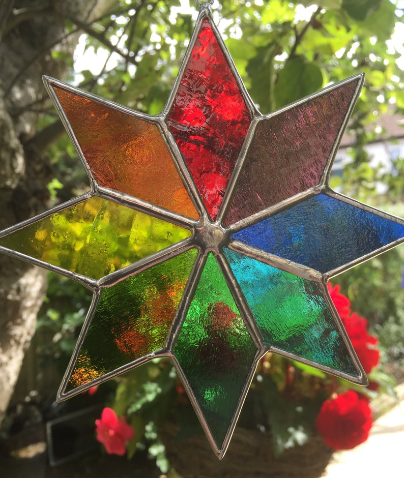 Stained Glass Star Rainbow Suncatcher Multi Colour Garden image 0