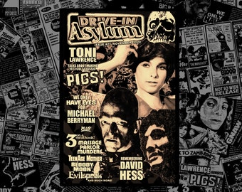 DRIVE-IN ASYLUM -- Issue #21 -- November 2020 with Toni Lawrence, Michael Berryman, David Hess, movie reviews, vintage ads