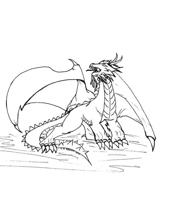 Página para colorear para imprimir de dragón de fuego | Etsy