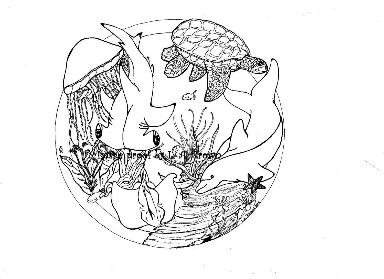 Imprimir página para colorear de delfines y tortugas y   Etsy