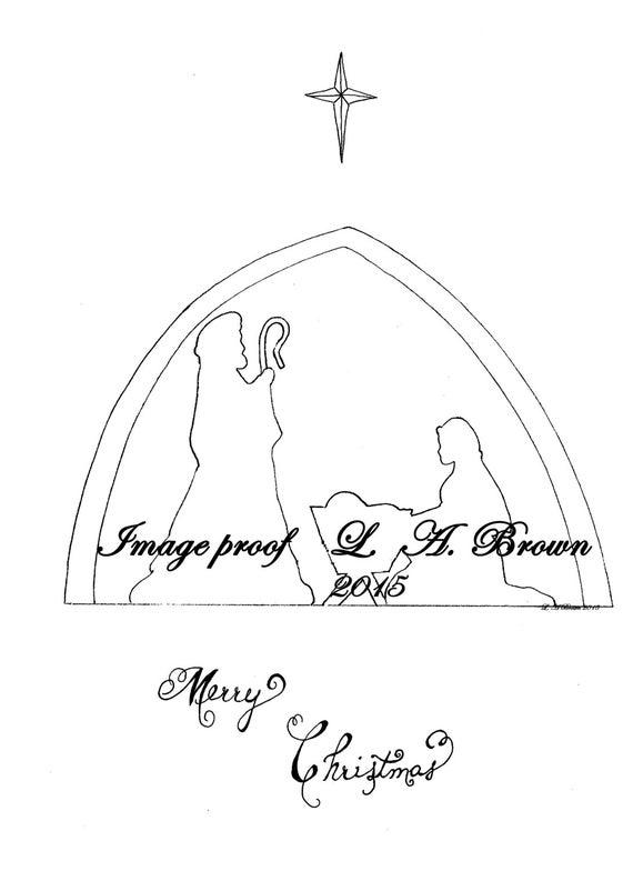 Página imprimible para colorear silueta del Belén de Navidad | Etsy