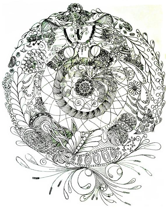Página para colorear para imprimir te veo mandala de kitty | Etsy