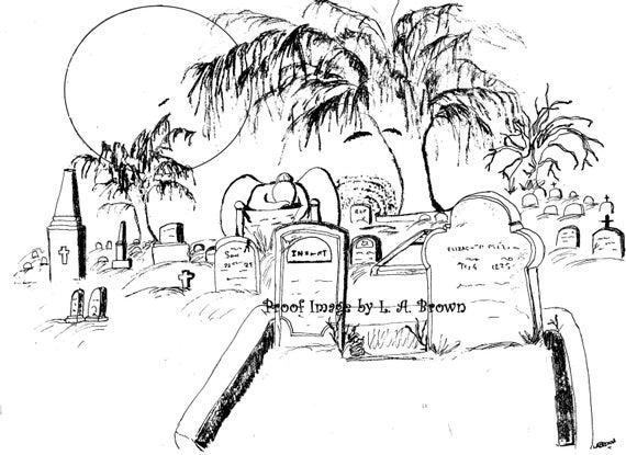 Página para colorear para imprimir cementerio espeluznante | Etsy