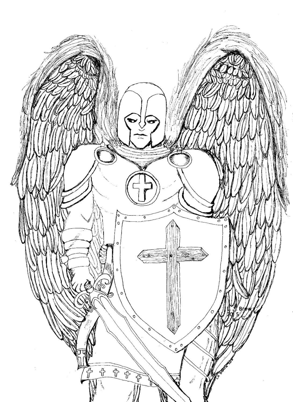 Página de imprimibles para colorear Ángel de la guarda | Etsy