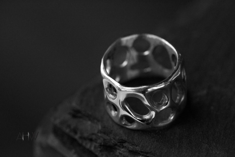 /'MEMBRANE/' Organic Wedding Band Cocktail Everyday Ring Long Finger Ring Wedding Ring Flowing Solid Sterling Silver