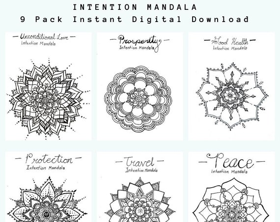 Intention Mandala Printable Poster Pack | 9 Freehand Drawings |Prosperity|Health| PDF Instant Digital Download | Home and Office Wall Art