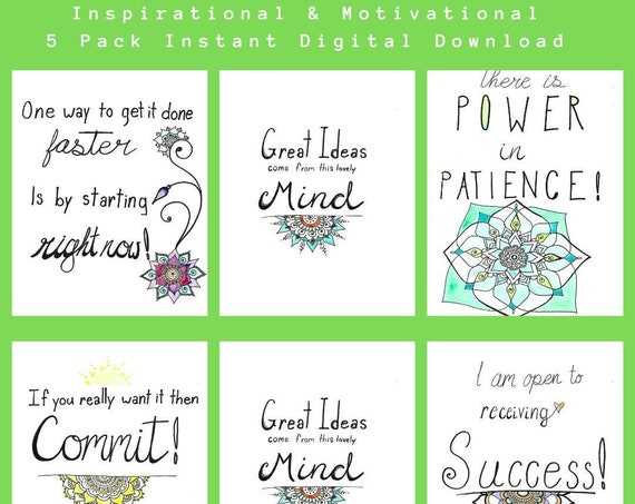 Five Inspirational & Motivational Freehand drawn Reiki blessed printable posters * Instant Digital Download * Watercolor Mandala Painting