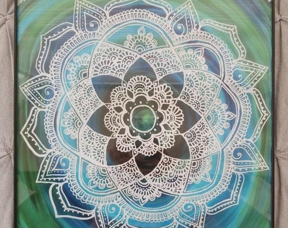 Sea Lace Manadala l Free Handed Green, Blue, Lace Mandala Poster Print l Art Print l Black Poster Frame l Hand Painted Mandala Artwork