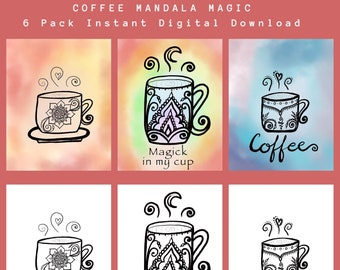 Coffee Mandala Magic Printable Poster Pack | 3 Freehand Drawings | Chakra color| PDF Instant Digital Download | Home and Kitchen Wall Art