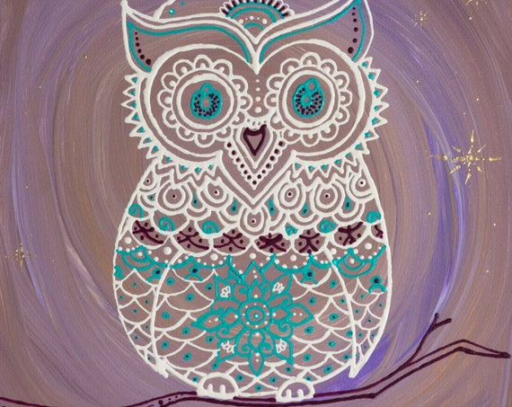 Night Owl l Hand Painted Lavendar, White, Gold Owl Art Print l Framed Art Print l Dorm Decor l Art Print l Owl on Tree Branch l Moon Print