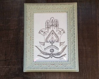 Crystal Hamsa Lotus Freehand Drawing | Original Artwork | Pen and Ink Design | Framed Home Decor