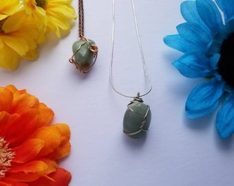 Green Aventurine Crystal Necklace   Heart Chakra  Love   Emotional Protection  Hand Wrapped and Reiki Blessed Jewelry