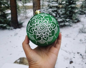 Custom LARGE Hand-Painted Holiday Ornament | Handmade Gift | Freehand Painted Decor | Custom Christmas Tree idea | Acrylic Mandala