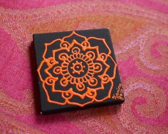 Orange Mandala on a Black Mini Canvas | 2.5×2.5 Original Painting | Artwork Room Decor