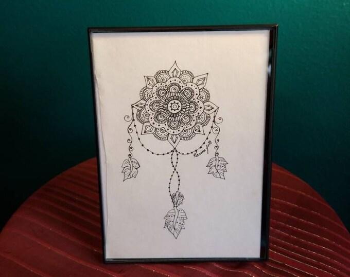 "Crystal Mandala Dream Catcher Original Pen & Ink Drawing 5×7""| feather art | framed wall decor | handmade boho gift | reiki intention art"