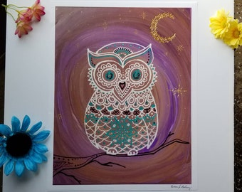 "Night Owl 12×15.5"" Art 13×16.5"" w border l Hand Painted Lavendar, White, Gold Owl Art Poster Print Decor l Owl on Tree Branch l Moon Print"