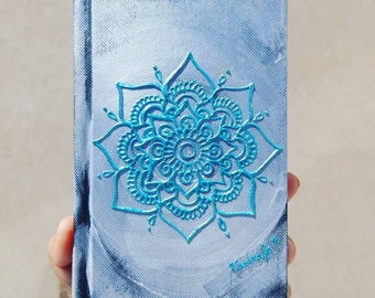 """Original Silver and blue Freehand Painted Mandala Sketchbook /Journal 