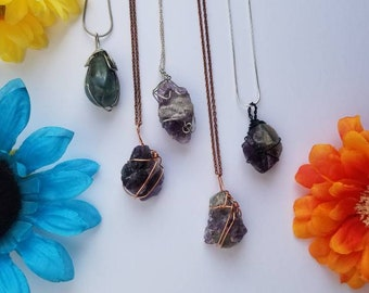 Purple Fluorite Crystal Necklace | Crown & Heart Chakra| Stress Relief | Calming | Hand Wrapped and Reiki Blessed Jewelry