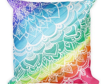 "Chakra Mandala Square Pillow * Intuitive Intention Mandala Home Decor Rainbow Pillow * 18""x18"""