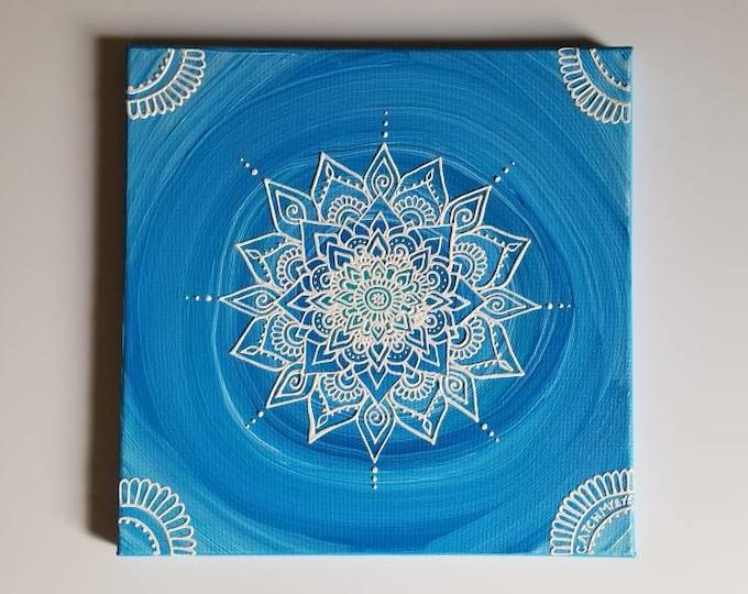 Throat Chakra Mandala   Intention Mandala Series   Reiki Charged Acrylic Painting   Home Decor   Sacred Space Art