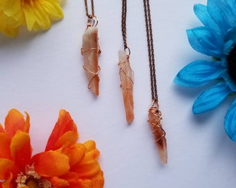 Red Calcite Crystal Necklace   Root Chakra  Grounding   Hand Wrapped and Reiki Blessed Jewelry
