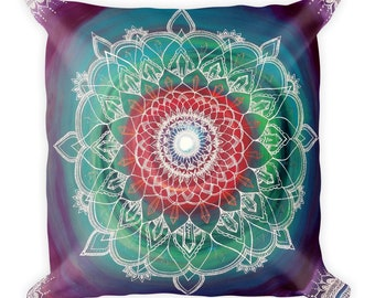 Frequency Portal Mandala Square Pillow | Home decore freehand crystal art print throw pillow