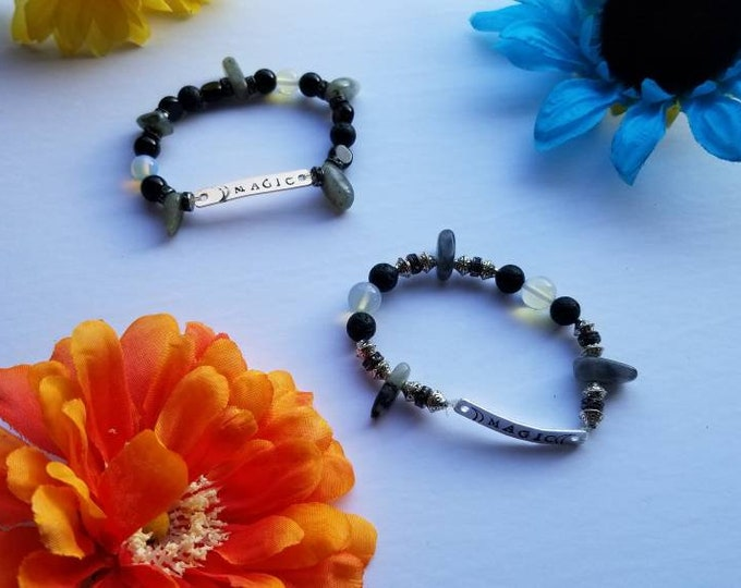 MAGIC | Labradorite Handmade Bracelet | Reiki Blessed Hand Stamped Crystal Jewelry