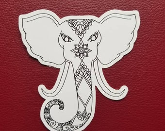 Elephant Drawing Sticker | Art Freehand Drawn Car Decal | Artist Print | Mandala & Henna Inspired